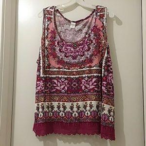 BILA  blouse maroon/pink pattern lace &secquins
